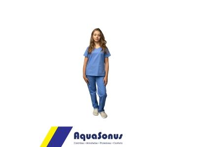 Pijama cirúrgico em brim leve - feminino
